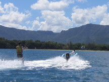 Waterskiing (behind the boat)