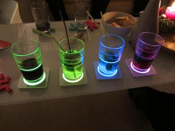 Glowing coasters