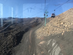 Ski lift going up Mount Etna