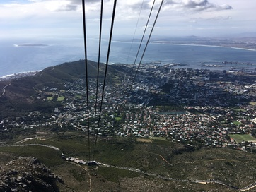 Going down Table Mountain